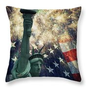 Statue Of Liberty And Fireworks Throw Pillow