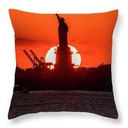 Statue Of Liberty Sunset. Nyc Harbor Throw Pillow