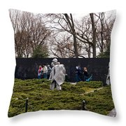 Statues Of Soldiers At A War Memorial Throw Pillow