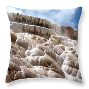 Steamy Mammoth Hot Springs Throw Pillow