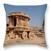 Stone Chariot At Vittala Temple  Throw Pillow
