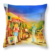 Street Art Fair Throw Pillow