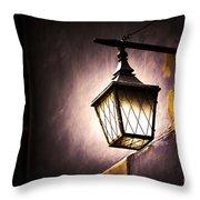 Street Lamp Shining Throw Pillow