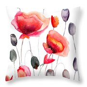 Stylized Poppy Flowers Illustration  Throw Pillow