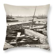 Suez Canal Port Said Throw Pillow