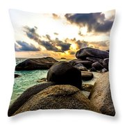 Sun Sand Sea And Rocks Throw Pillow