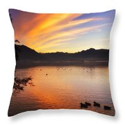 Sunrise Over An Alpine Lake Throw Pillow