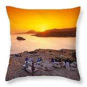 Sunset At Poseidon Temple Throw Pillow