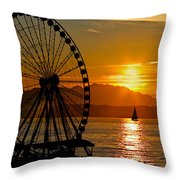 Sunset Ferris Wheel Throw Pillow