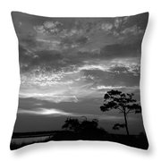 Sunset Over Colington Island On The Outer Banks Of North Carolina Throw Pillow