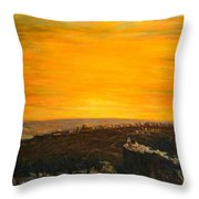sunset over Jerusalem Throw Pillow