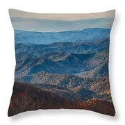 Sunset View Over Blue Ridge Mountains Throw Pillow