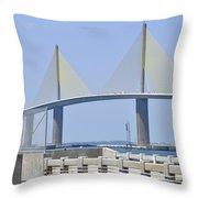 Sunshine Skyway Bridge I Tampa Bay Florida Usa Throw Pillow