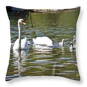 Swan With Signets Throw Pillow