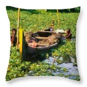 Taking Mud From The Bottom Of The Canal Throw Pillow