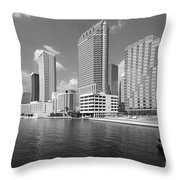 Tampa Skyline From Hillsborough River Throw Pillow