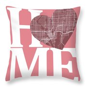 Tampa Street Map Home Heart - Tampa Florida Road Map In A Heart Throw Pillow