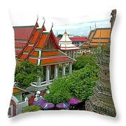 Temple Of The Dawn-wat Arun In Bangkok-thailand Throw Pillow