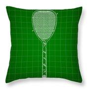 Tennis Racket Patent 1887 - Green Throw Pillow