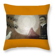Tesla And White Dove Throw Pillow
