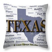 Texas State Pride Map Silhouette  Throw Pillow