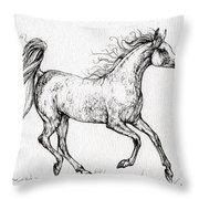 The Arabian Mare Running  Throw Pillow