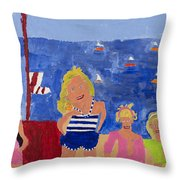 The Beach Girls Throw Pillow by Don Larison