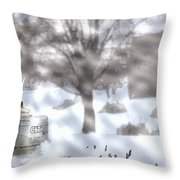 The Candle In The Snow Throw Pillow