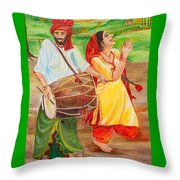 The Dhol Player Throw Pillow