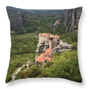 The Holy Monastery Of Rousanou Meteora Greece  Throw Pillow