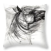 The Horse Sketch Throw Pillow