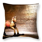 The Old Rocking Horse In The Attic Throw Pillow