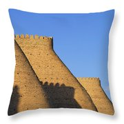 The Walls Of The Ark At Bukhara In Uzbekistan Throw Pillow