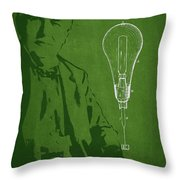 Thomas Edison Incandescent Lamp Patent Drawing From 1890 Throw Pillow