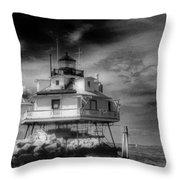 Thomas Point Shoal Lighthouse Black And White Throw Pillow