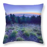 Top Of Mount Mitchell After Sunset Throw Pillow