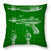 Toy Ray Gun Patent 1952 - Green Throw Pillow