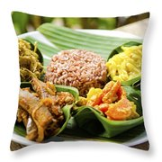 Traditional Vegetarian Curry With Rice In Bali Indonesia Throw Pillow