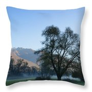 Tree And Mountain Throw Pillow