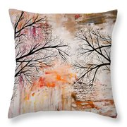 Tree Silhouette Painting Throw Pillow