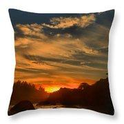 Trinidad Beach Sunset Throw Pillow by Adam Jewell