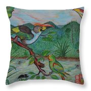 Tropical Dialogue Throw Pillow
