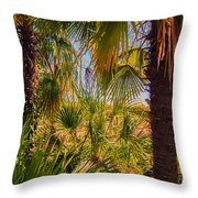 Tropical Forest Palm Trees In Sunlight Throw Pillow