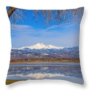Twin Peaks Longs And Meeker Lake Reflection Throw Pillow