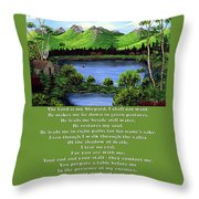 Twin Ponds And 23 Psalm On Green Throw Pillow