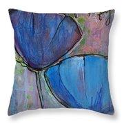 Two Blue Poppies Throw Pillow