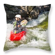 Two Whitewater Kayaks Throw Pillow