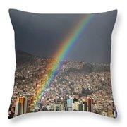 Urban Rainbow La Paz Bolivia Throw Pillow