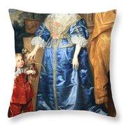 Van Dyck's Queen Henrietta Maria With Sir Jeffrey Hudson Throw Pillow