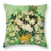 Van Gogh's Roses Throw Pillow